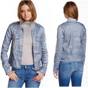 7FAM Large Denim Cargo Bomber Jacket